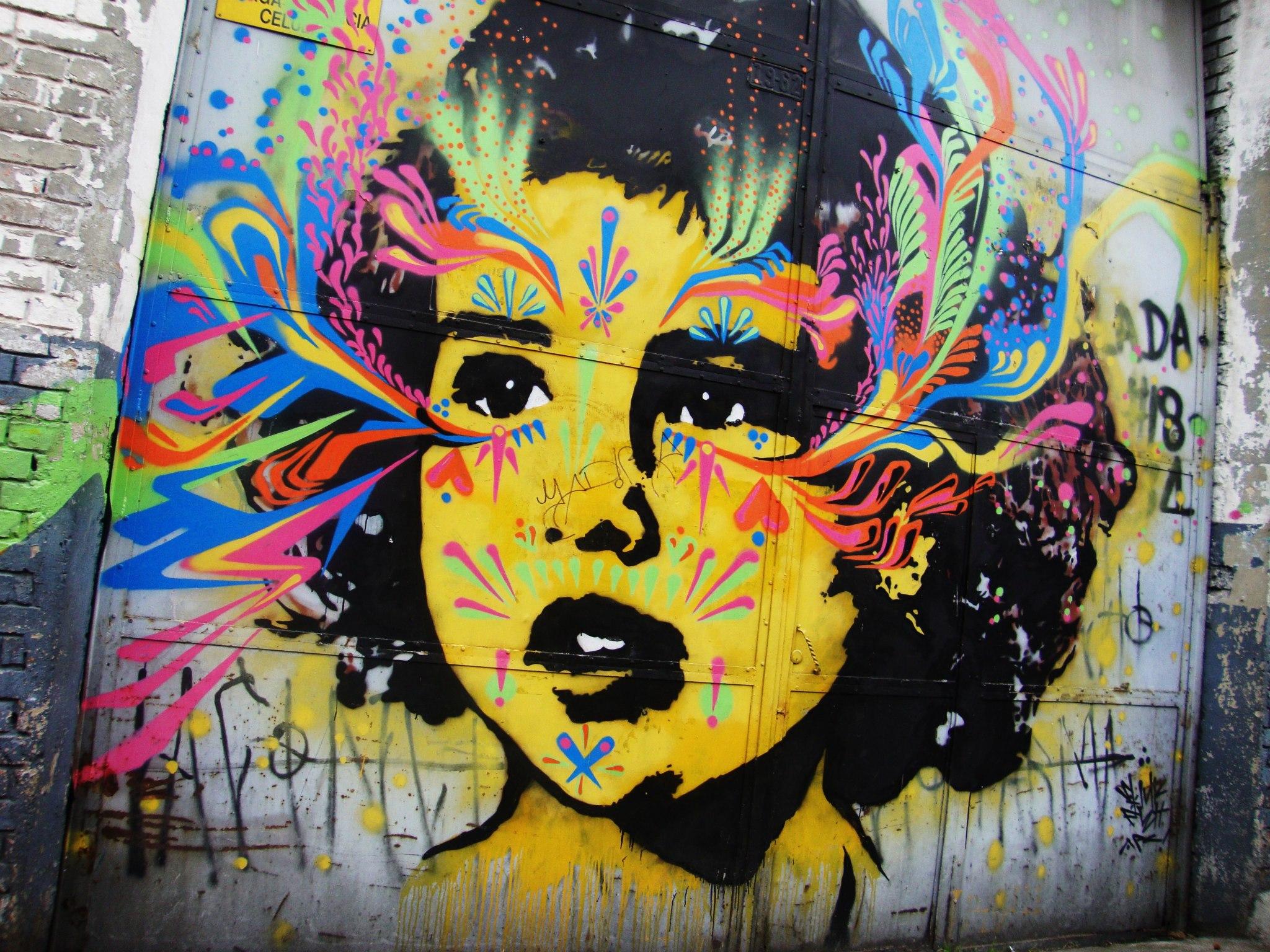 Graffiti in de wijk San Façon in Bogotá