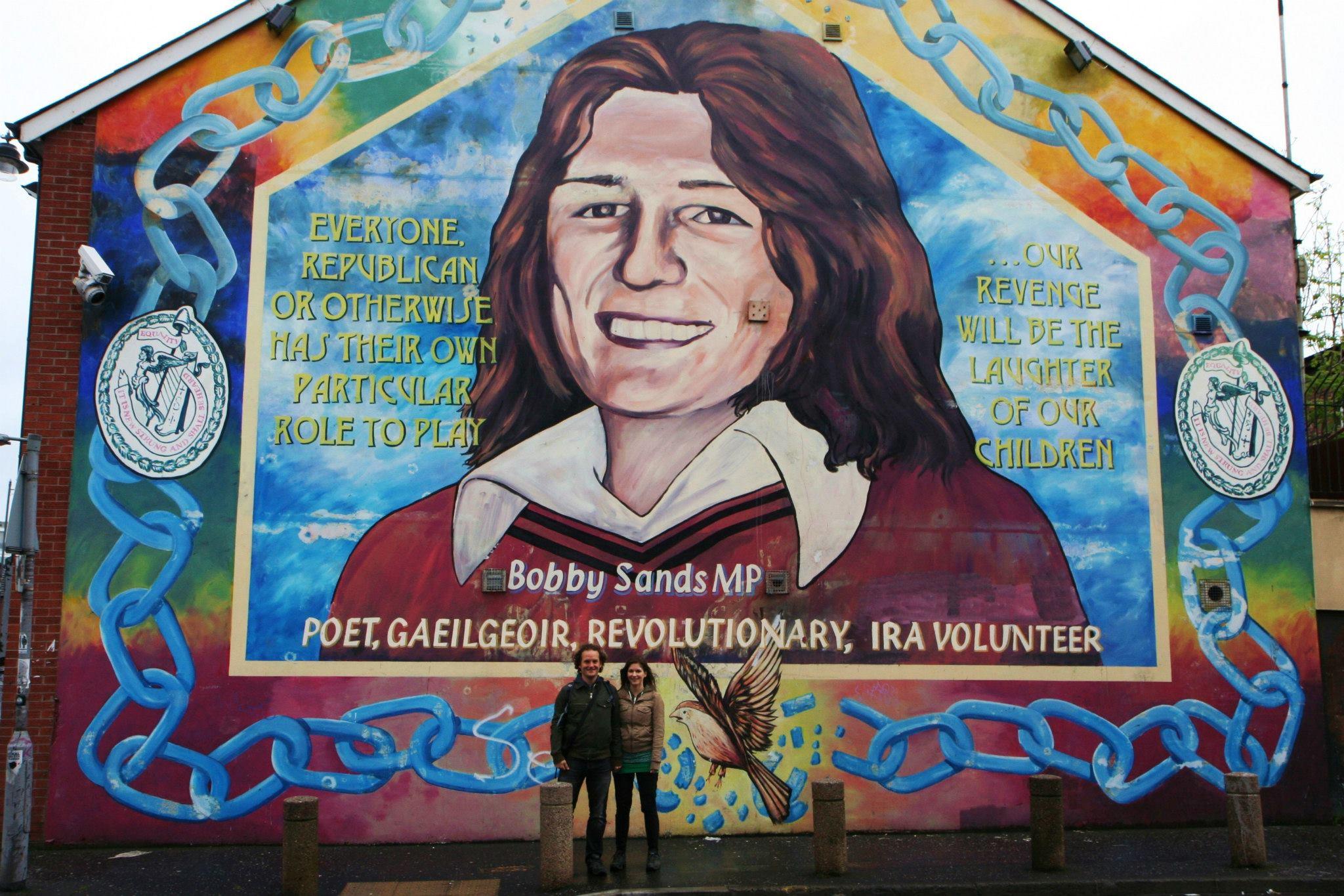 Muurtekening van Bobby Sands, het bekendste IRA-lid