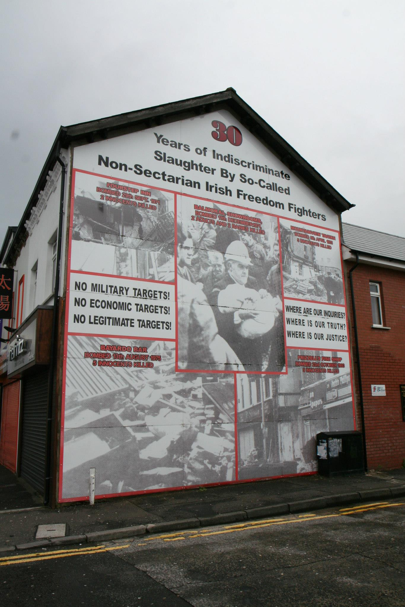 '30 years of indiscriminate slaughter by so-called non-sectarian Irish freedom fighters'