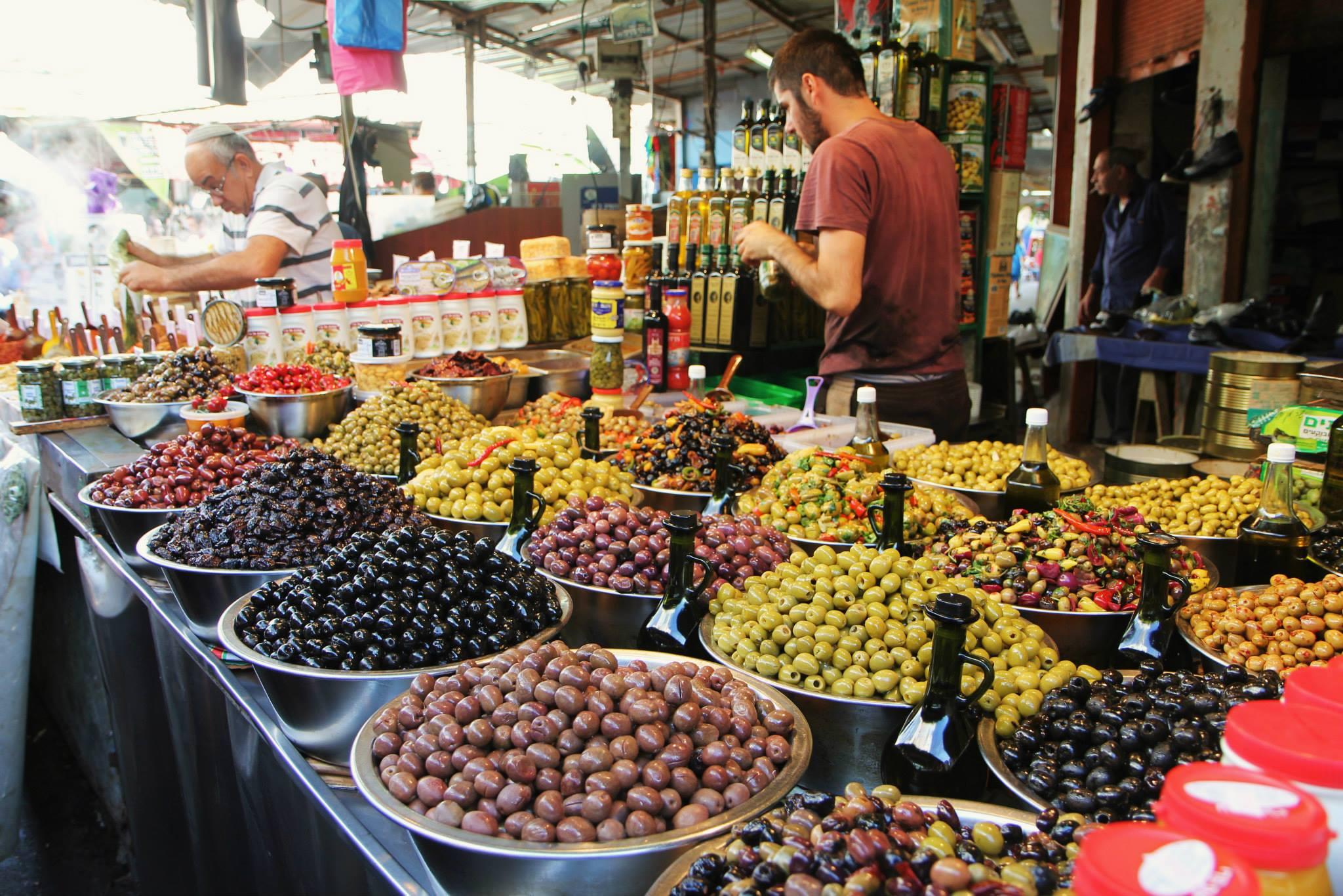 Olijven op een markt in Jeruzalem
